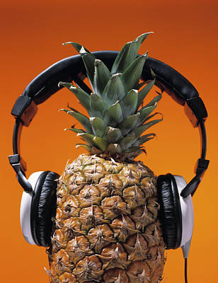 Pineapple Wearing Headphones Art Print by Philip Haynes