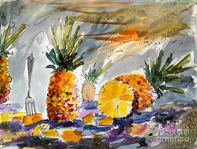 Watercolor And Ink Painting - Pineapples Still Life by Ginette Callaway