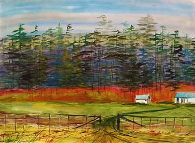 Pines Behind The Barns Art Print by John Williams