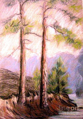Pastel - Pines On Shore by Gretchen Allen