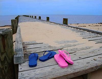 Pink And Blue Flip Flops On The Dock Original