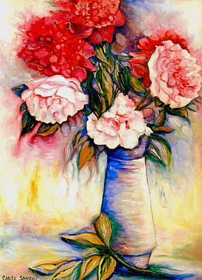 Painting - Pink And Red Peony Roses In A Tall Blue Porcelain Vase by Carole Spandau