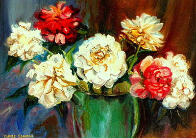 Painting - Pink And White Peonies In Green Watering Can Montreal Back Yards Scene by Carole Spandau