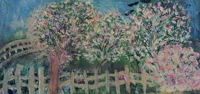 Pink And White Trees And Fence Art Print by Anne-Elizabeth Whiteway