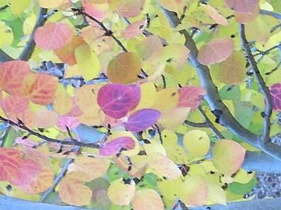 Wall Art - Digital Art - Pink Aspen Leaves by Bill Kennedy
