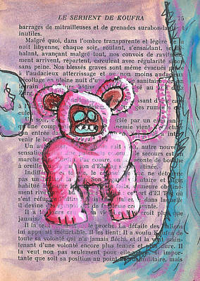 Pink Bear Suit Print by Jera Sky