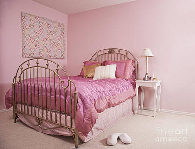 Pink Bedroom Interior Art Print by Jetta Productions, Inc