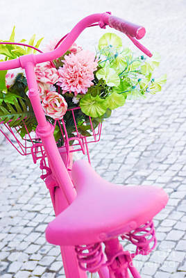 Basket Photograph - Pink Bicycle by Carlos Caetano