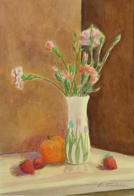Pink Carnations And Fruit Original