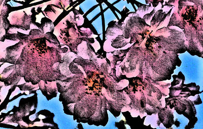 Pink Cherry - Black On Blue Art Print by Jen White