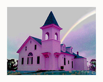 Art Print featuring the digital art Pink Church With Rainbow by David Klaboe