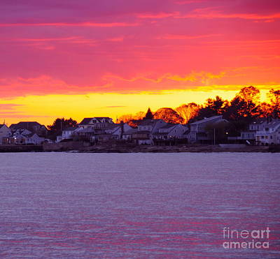 Seascape Painting - Pink Connecticut Sunset C by Cindy Lee Longhini
