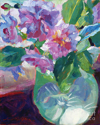 Floral Still Life Painting - Pink Flowers In Green Glass by David Lloyd Glover