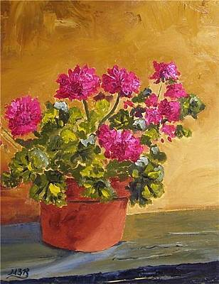 Painting - Pink Geranium On Ledge by Maria Soto Robbins