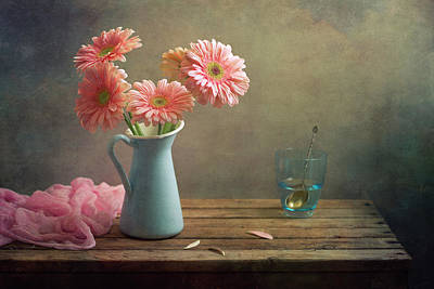 Water Pitcher Photograph - Pink Gerberas In Blue Pitcher Jug by Copyright Anna Nemoy(Xaomena)