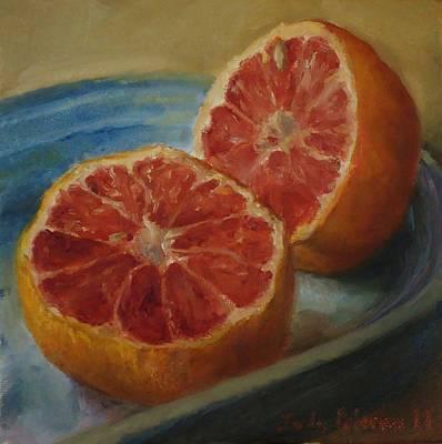 Pink Grapefruit On Blue Vintage Platter Art Print by Judy Palermo