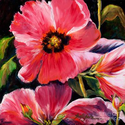 Painting - Pink Hollyhocks by Pati Pelz