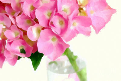 Pink Hydrangea In A Glass Vase Art Print by Anne Kitzman