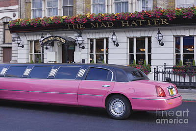 Pink Limo Outside A Pub Art Print