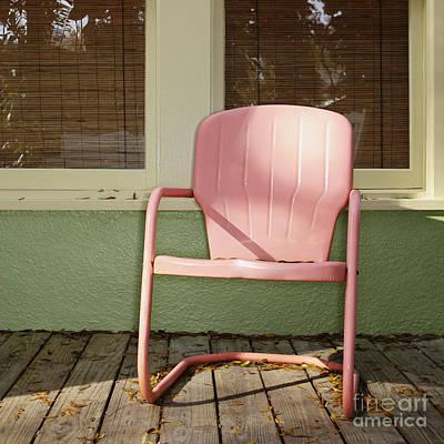 Pink Metal Chair On A Porch Art Print