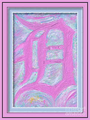 Pink Old English D Framed Art Print by Donald Pavlica
