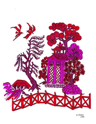 Gail Daley Wall Art - Painting - Pink Pagoda by Gail Daley