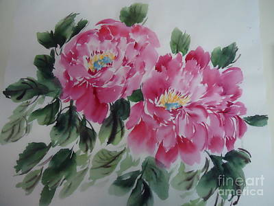 Art Print featuring the painting Pink Peony by Dongling Sun