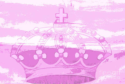 Artyzen Kids Mixed Media - Pink Princess Crown Art by ArtyZen Kids