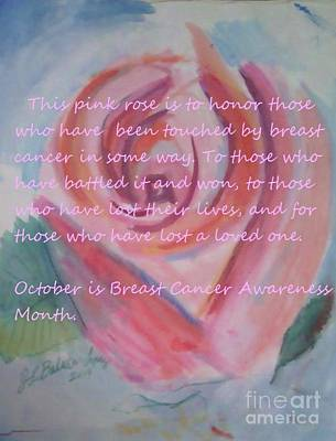 Pink Rose Breast Cancer Awareness Art Print by Jamey Balester