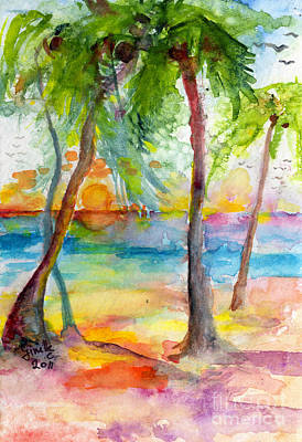 Pink Sands And Palms Island Dreams Watercolor Art Print by Ginette Callaway