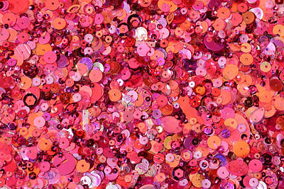 Pink Sequins Of Various Shapes And Sizes Art Print by Andrew Paterson