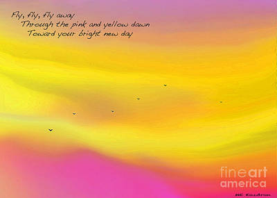 Digital Art - Pink Sky Flight Haiku by ME Kozdron