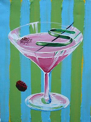 Pink Stripe Martini Art Print by Michael Baum