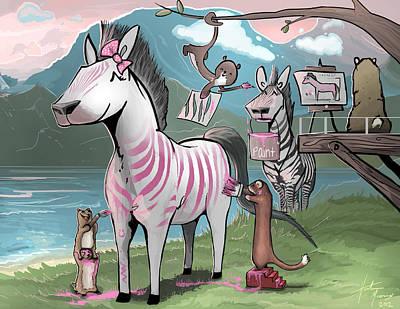 Adorable Digital Art - Pink Stripes by Hunter Mooney