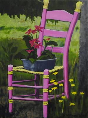 Ladder Back Chairs Painting - Pink Summer Chair by Fran Atchison