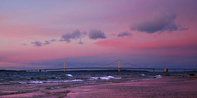 Photograph - Pink Sunset Over Mackinac Michigan by LeeAnn McLaneGoetz McLaneGoetzStudioLLCcom