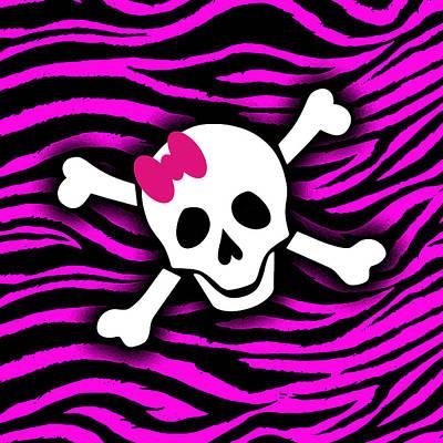 Lucille Ball - Pink Zebra Skull by Roseanne Jones
