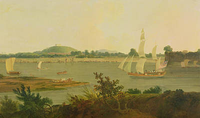 East India Painting - Pinnace Sailing Down The Ganges Past Monghyr Fort by Thomas Daniell