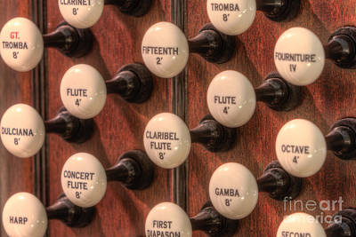 Photograph - Pipe Organ Stop Knobs I by Clarence Holmes