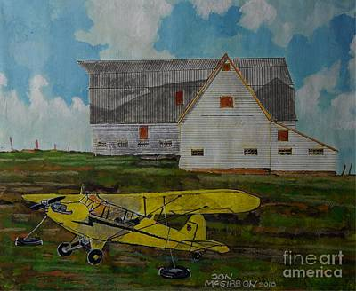 Piper Cub Painting - Piper J3 Cub And Barn by Donald McGibbon