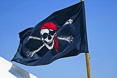 Photograph - Pirate Flag Skull With Red Scarf by Garry Gay