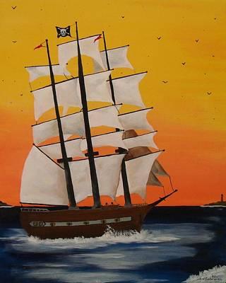 Pirate Ship At Dawn Art Print by Paul F Labarbera