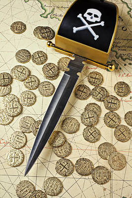 Pirate Sword And Gold Coins On Old Map Print by Garry Gay