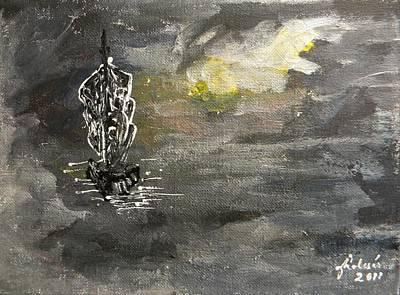 Pictori Romani Contemporani Painting - Pirates' Ship by Carmen Kolcsar