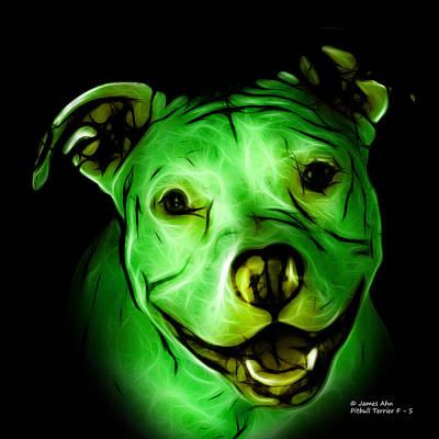 Digital Art - Pitbull Terrier - F - S - Bb - Green by James Ahn