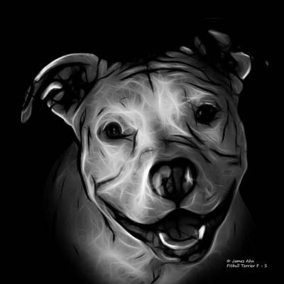 Digital Art - Pitbull Terrier - F - S - Bb - Greyscale by James Ahn