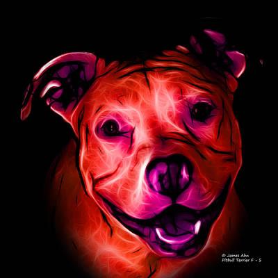Dog Digital Art - Pitbull Terrier - F - S - Bb - Red by James Ahn