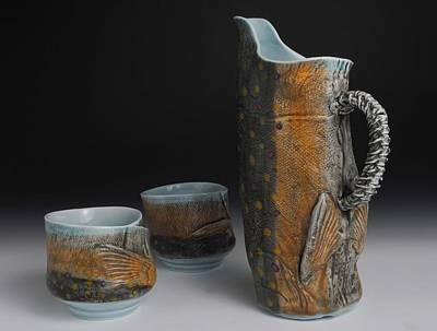 Yunomi Sculpture - Pitcher And Yunomi's  by Mark Chuck