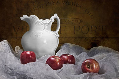 Raw Photograph - Pitcher With Apples Still Life by Tom Mc Nemar