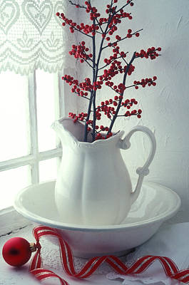 Red Berries Photograph - Pitcher With Red Berries  by Garry Gay